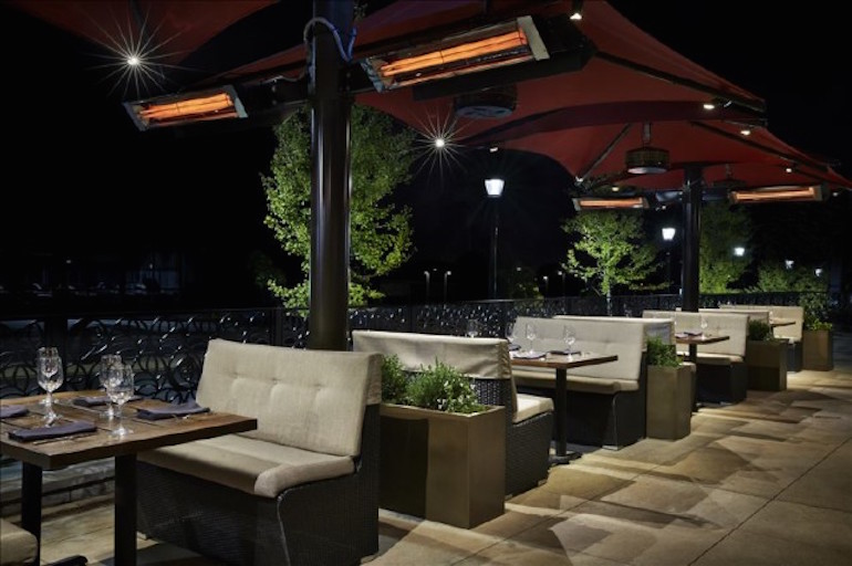 Infratech Infrared Outdoor Heaters on a Patio