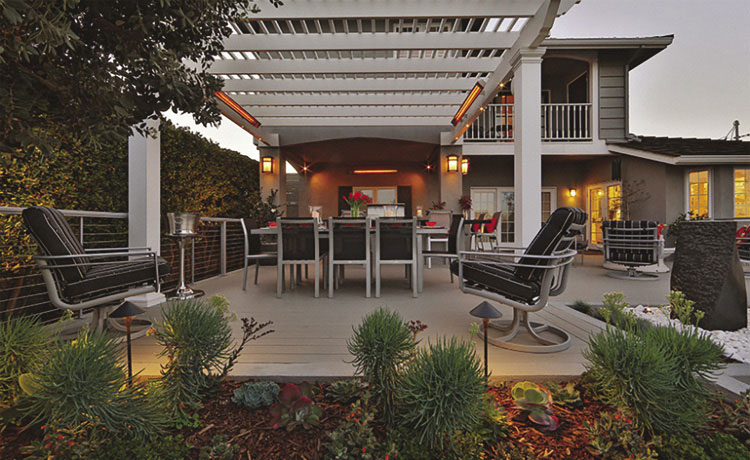 Infratech Outdoor Infrared Heaters Above a Patio