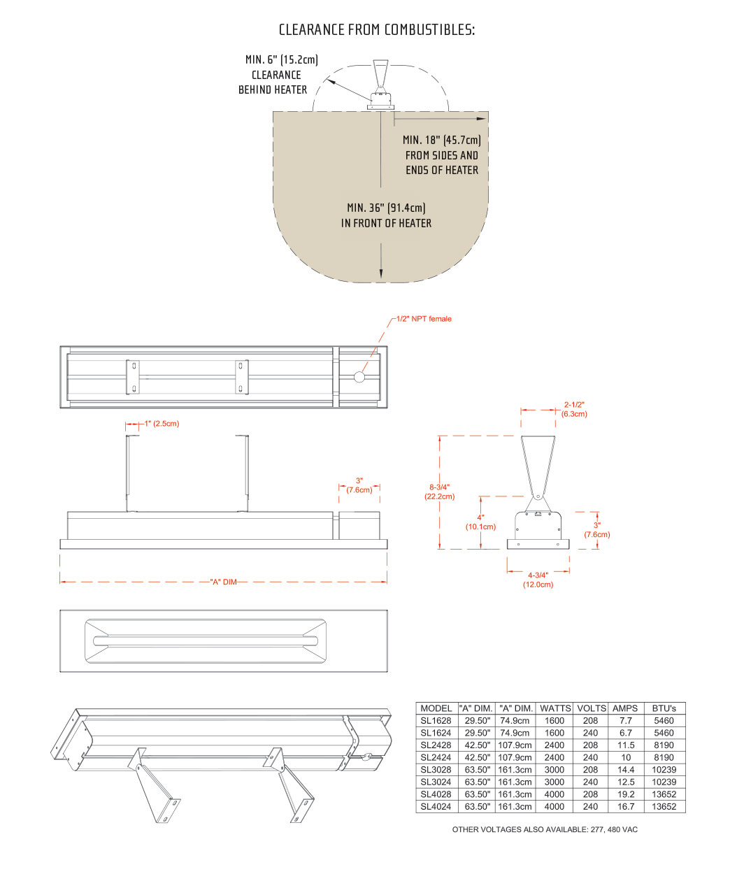 Infratech SL Series Dimensions
