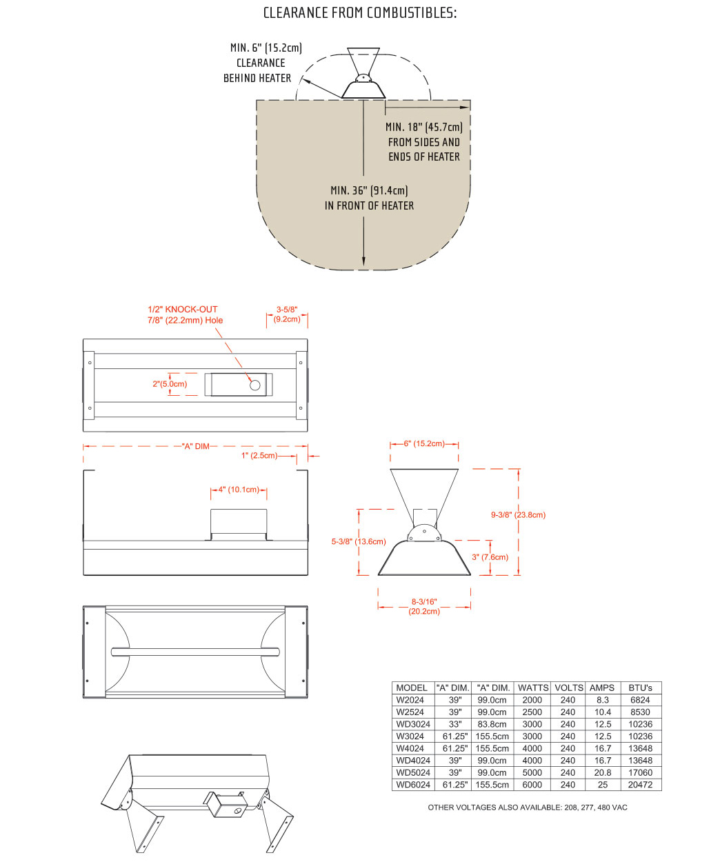 Infratech W Series Dimensions