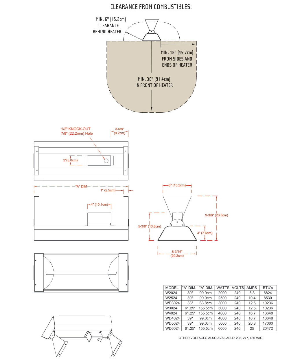 Infratech WD Series Dimensions