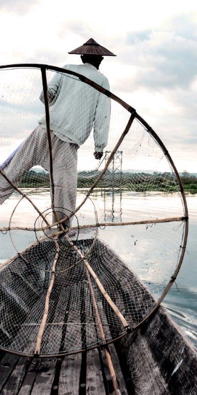 Asian Fisherman Glass Infrared Panel Image