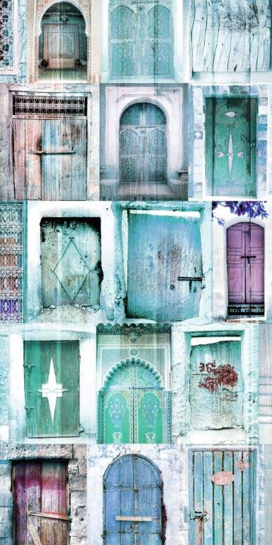 Blue Doors Glass Panel Image