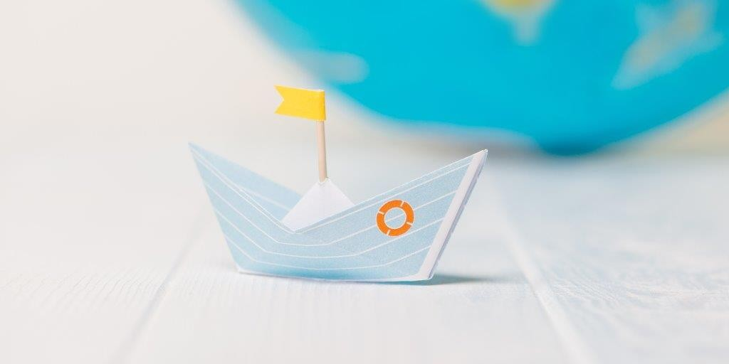 Origami Boat Glass Panel Image